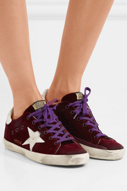 Superstar distressed leather-paneled velvet sneakers