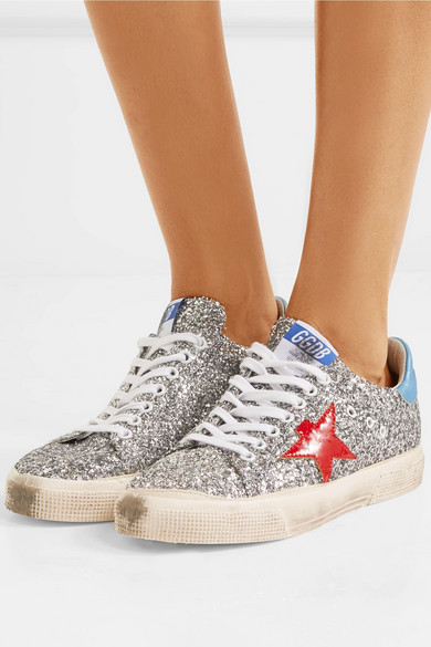 Golden Goose May glitter leather sneakers Cheap Lowest Price 94pIDJIoT