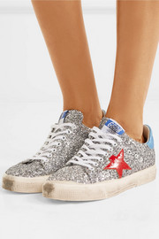 May appliquéd glittered leather sneakers