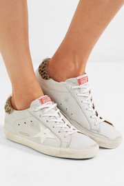 Super Star distressed leopard-print calf hair-trimmed textured-leather sneakers