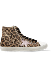 Francy leopard-print calf hair and leather high-top sneakers