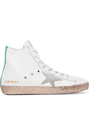 Francy distressed glittered leather high-top sneakers