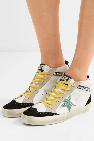 56b77ff63aa2 Golden Goose. Mid Star embellished distressed suede and leather sneakers