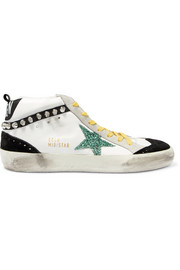 Mid Star distressed embellished suede and leather sneakers