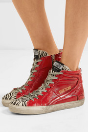 Slide distressed calf hair glossed-leather high-top sneakers