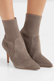 Katie suede and ribbed-knit sock boots