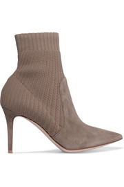 Katie 85 suede and ribbed-knit sock boots