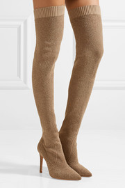 Gianvito Rossi Fiona bouclé-knit over-the-knee sock boots