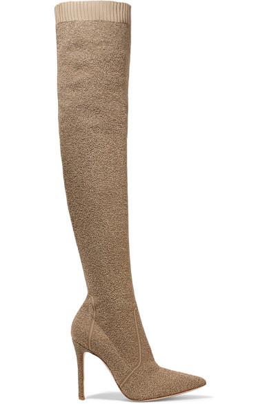 Gianvito Rossi Fiona 100 oberschenkelhohe Sock Boots aus Bouclé-Strick