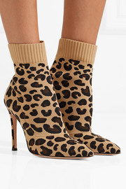 Gianvito Rossi Sauvage leopard-print stretch-knit sock boots
