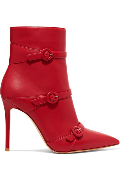 Gianvito Rossi - Robin Buckled Leather Ankle Boots - Red