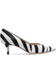 Gianvito Rossi 55 zebra-print calf hair pumps
