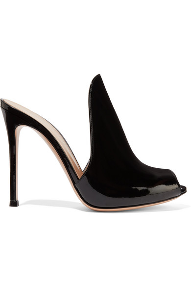 GIANVITO ROSSI 105Mm Patent Leather Mule Sandal in Black