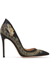 Dragon embroidered satin pumps