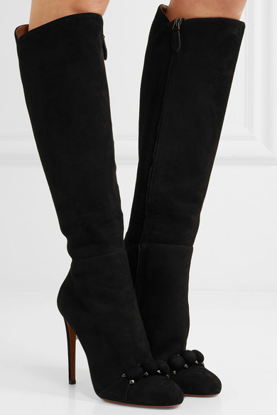 Alaïa Knee-high Boots Made Of Suede With Ornaments