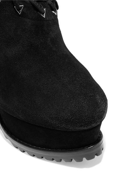 Alaïa Ankle Boots aus Veloursleder mit Shearling-Futter und Plateau