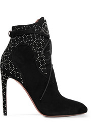 Alaïa Studded lace-up suede ankle boots