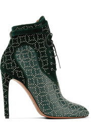 Studded lace-up leather and suede ankle boots