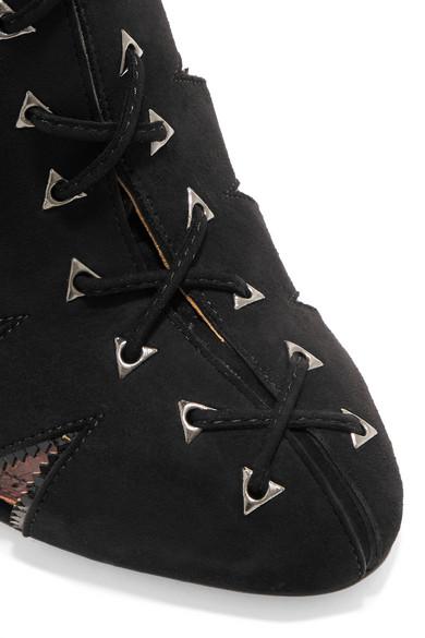 Alaïa Sandalen aus Veloursleder mit Lacklederbesatz und Cut-outs