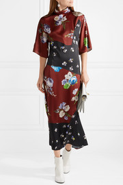 Dilona paneled printed satin midi dress