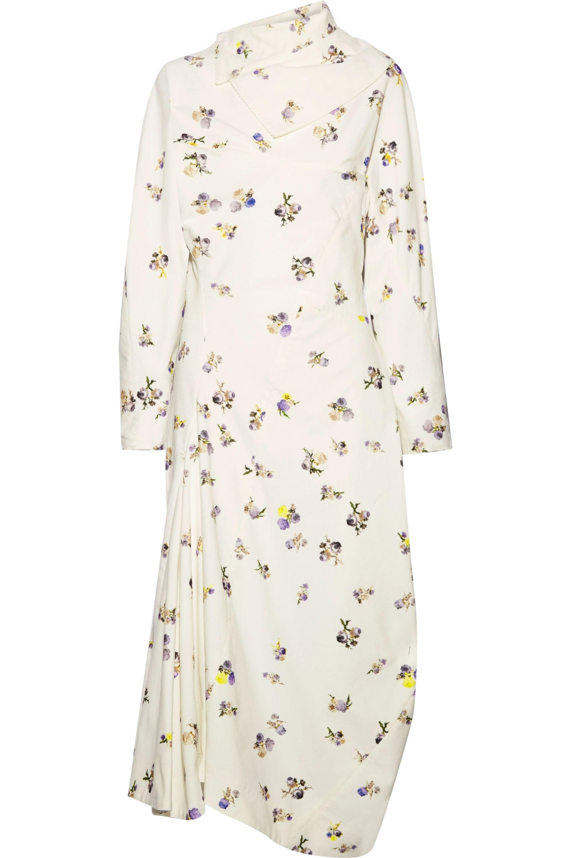 Acne Studios Dragica asymmetric floral-print cotton-corduroy midi dress