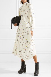 Dragica asymmetric floral-print cotton-corduroy midi dress