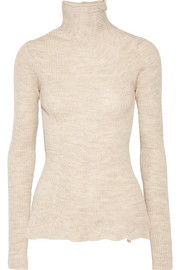 Rosie paneled ribbed merino wool turtleneck sweater