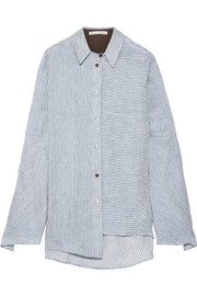 Balzac asymmetric striped linen and modal-blend shirt