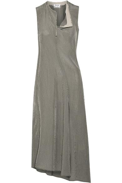 Deala Asymmetric Gingham Crepon Midi Dress - Beige Acne Studios eFj5vH