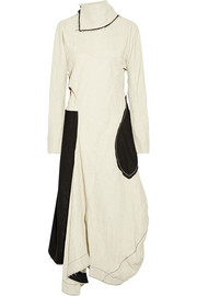 Dragica asymmetric open-back paneled linen-blend dress