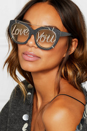 Alice + Olivia Walker cat-eye glittered acetate and gold-tone sunglasses