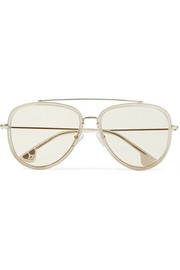 Alice + Olivia Lincoln aviator-style glittered acetate and gold-tone sunglasses