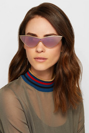 + Adam Selman The Fugitive cat-eye gold-tone mirrored sunglasses