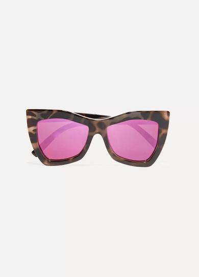 Kick It square-frame tortoiseshell acetate mirrored sunglasses