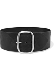 Tikky textured-leather waist belt