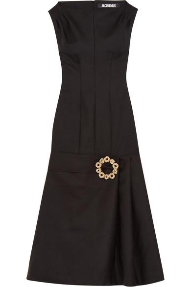 La Robe Claude Longue Embellished Wool-blend Midi Dress - Black Jacquemus Footlocker Finishline Cheap Online YDC81S