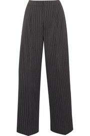 Striped wool wide-leg pants