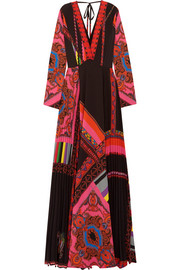 Etro Open-back printed plissé-crepe maxi dress