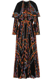 Cape-effect printed plissé silk-chiffon gown