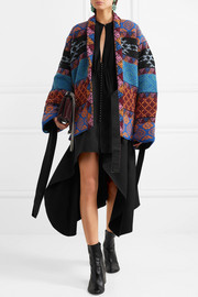 Reversible intarsia wool-blend and jacquard jacket
