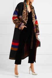 Oversized patchwork jacquard, wool-blend and goat hair coat
