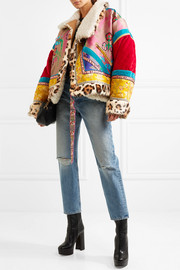 Oversized patchwork jacquard, velvet, shearling and calf hair jacket