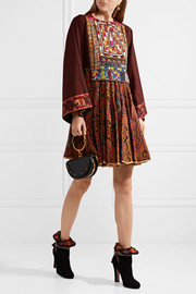 Embroidered printed wool mini dress