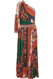 One-shoulder printed crepe de chine maxi dress