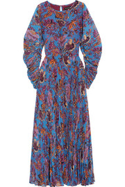 Printed plissé-georgette maxi dress