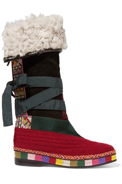 SHEARLING-LINED PANELED SUEDE KNEE BOOTS