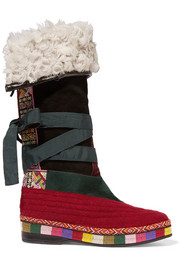 Etro Shearling-lined paneled suede knee boots