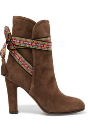 Etro Jacquard-trimmed suede ankle boots