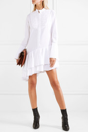 Super Human pleated asymmetric cotton-poplin shirt dress