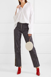Loyal Companion mid-rise striped straight-leg jeans
